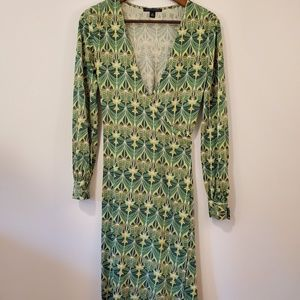 Banana Republic silk art deco wrap dress size xs